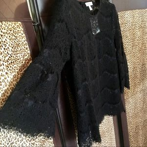 NWT Anthropologie Sz S Black Lace Bell Sleeve Top